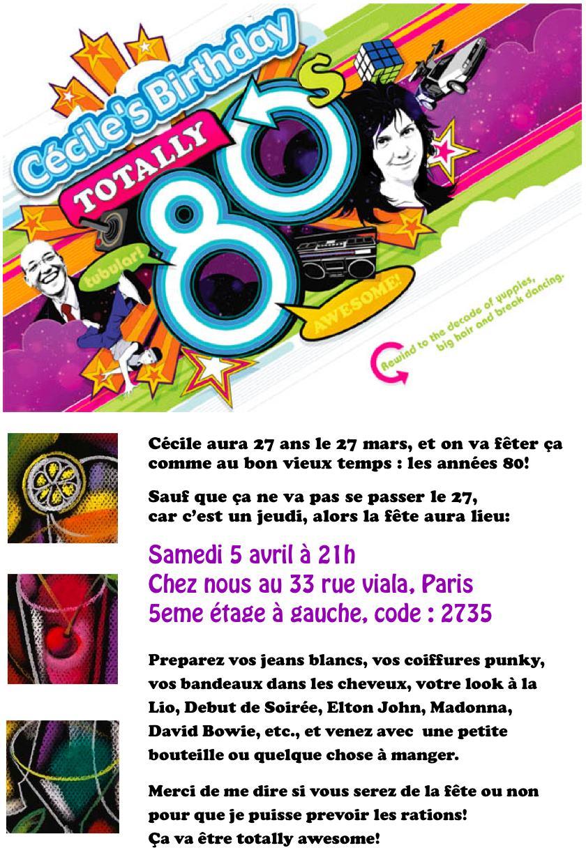 Préférence Invitation à l'anniversaire de Cécile! JD82