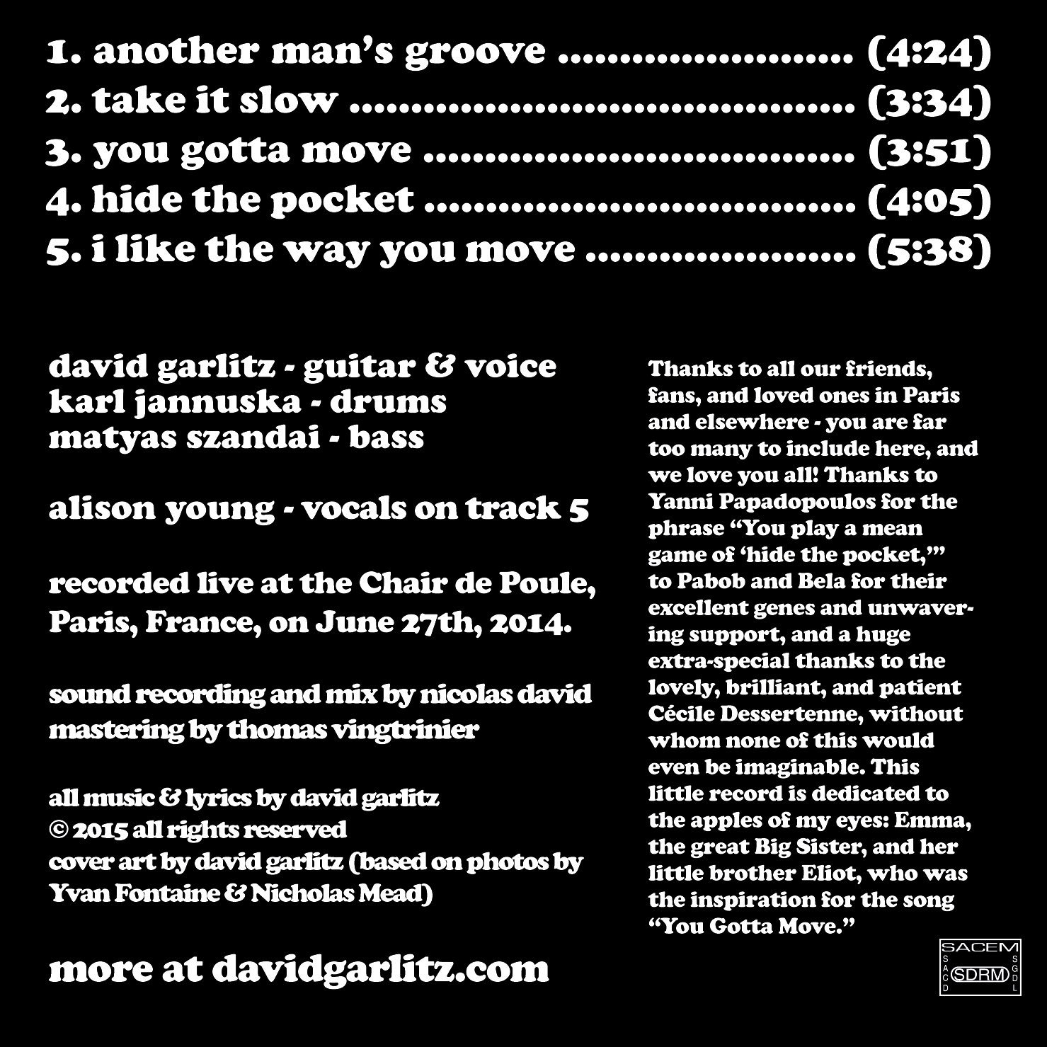 Live in Paris - back cover